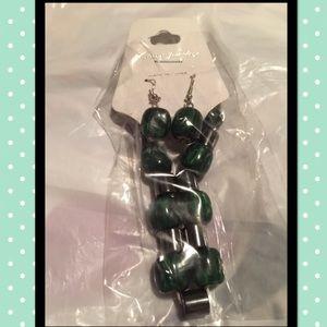 Jewelry - Bracelet & Earring Set Gunmetal/Green/Silver NEW